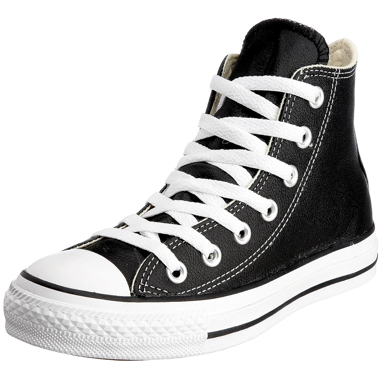 Converse Chucks Taylor All Star Hi Leder, Unisex - Erwachsene Sneaker  37 EU|Schwarz (Schwarz)