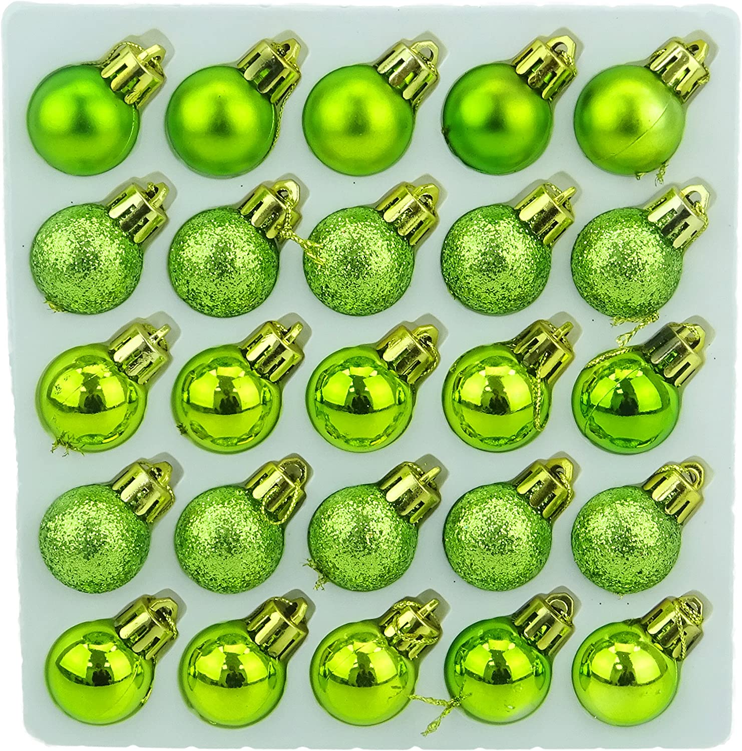 Christmas Concepts Pack of 25-25mm Mini Christmas Tree Baubles - Shiny, Matte & Glitter Decorated Baubles (Lime Green)