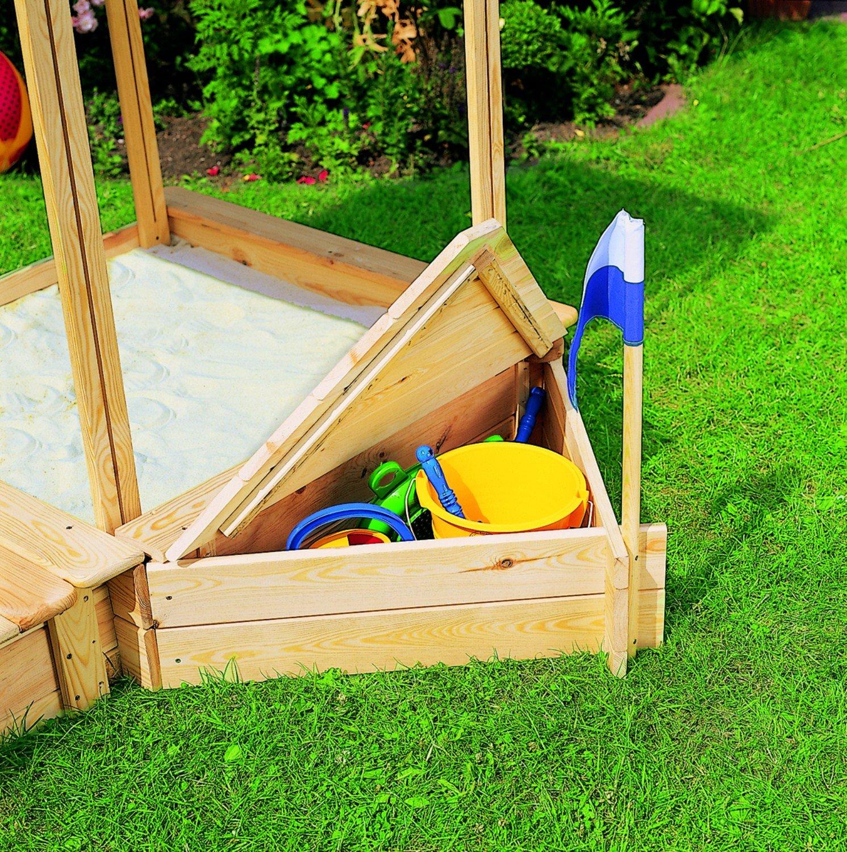 Promadino Set Sandkasten Peter mit Sitz- & Bugbox