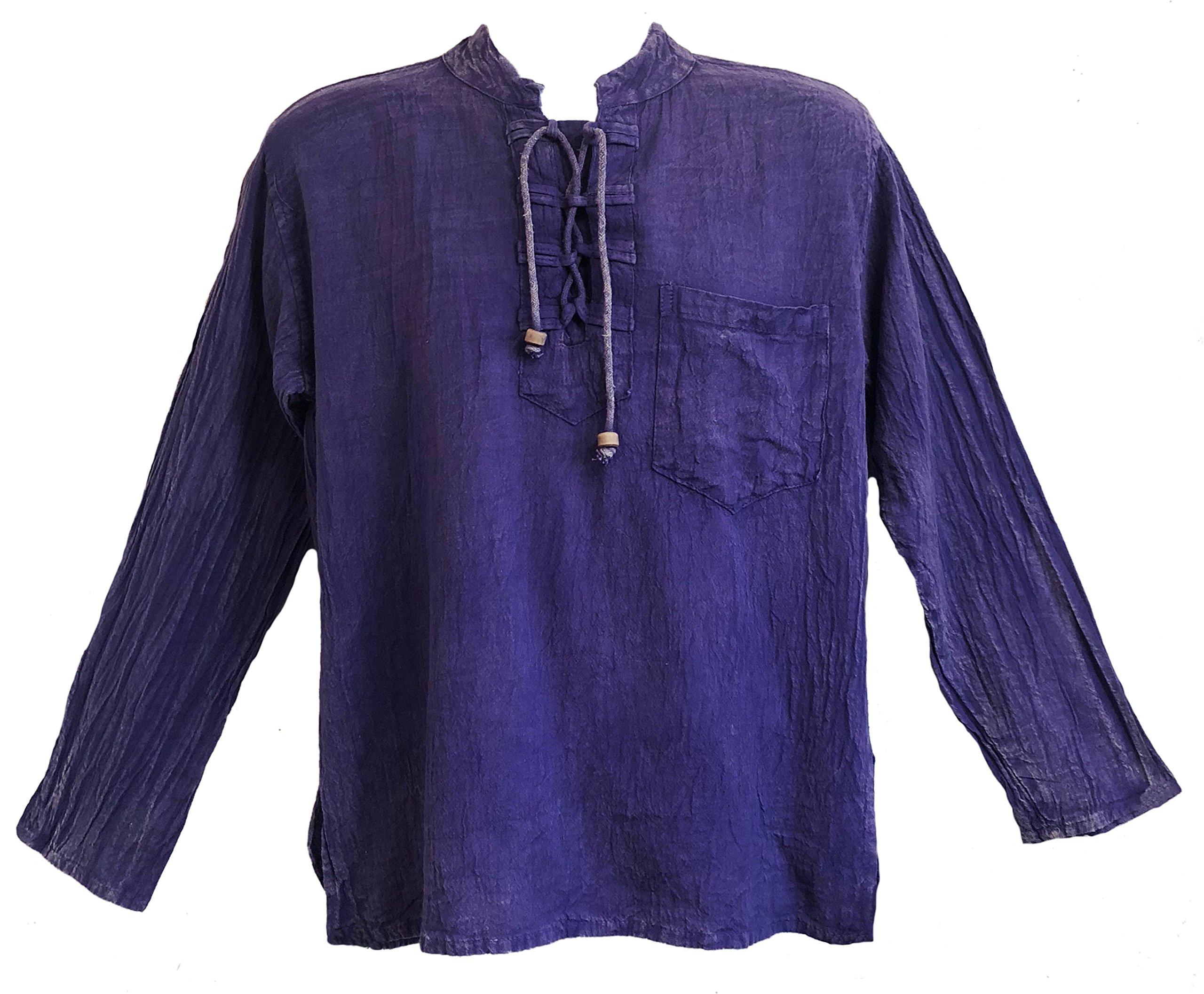 Yak & Yeti Men's Kurta Stone Washed Lightweight Cotton Embroidered Mandarin Style Collar (Medium, Purple Lace up)