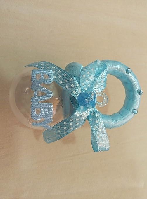 SCATOLINA BOMBONIERA Puerta Confetti a forma de chupete azul con ...