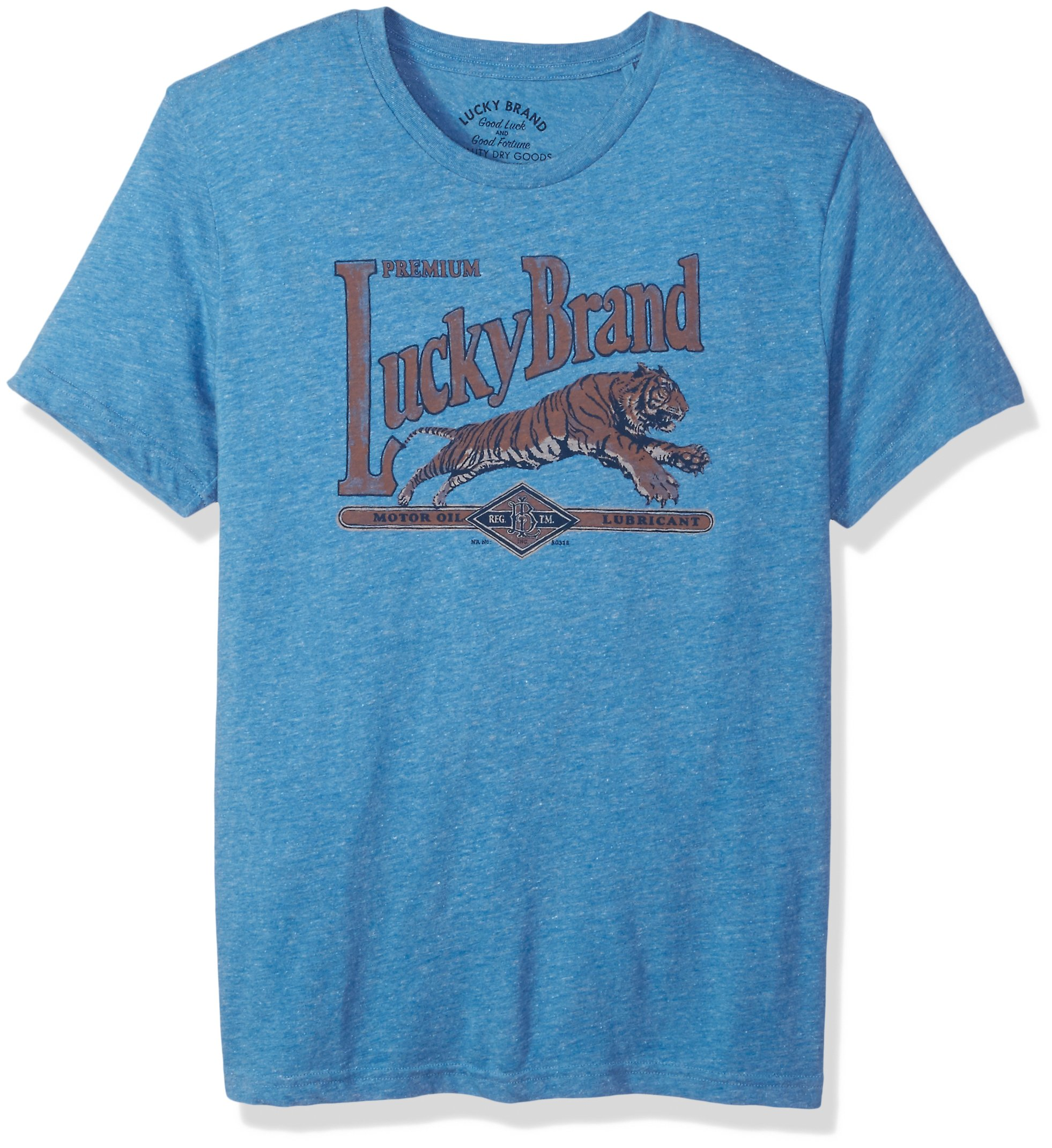 Lucky Brand Men's Lucky Motor Oil Graphic Tee, Federal Blue, L