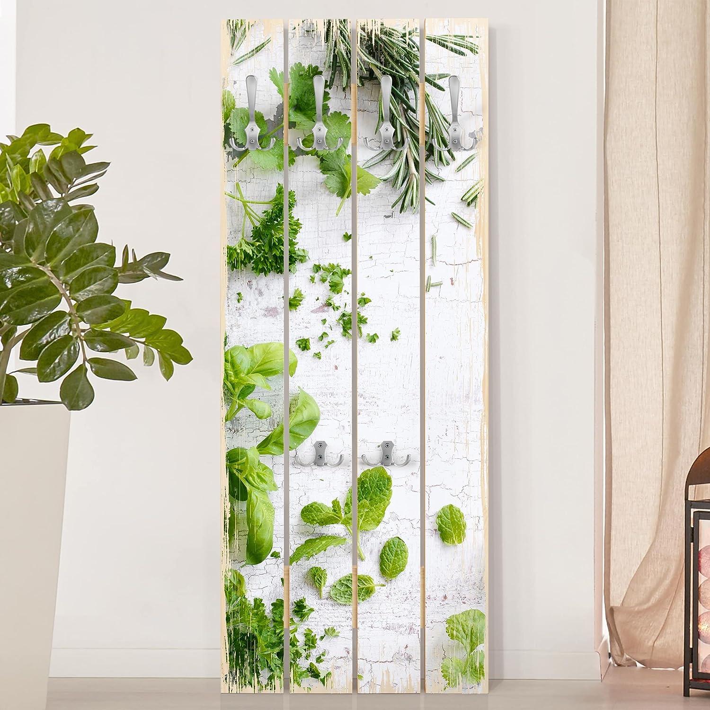 Bilderwelten Perchero de Madera - Herbs On Wooden Shabby ...