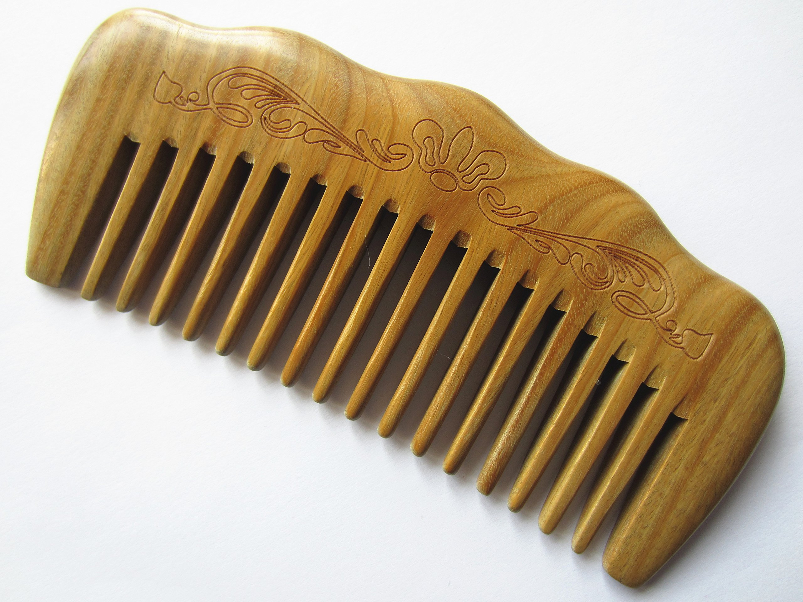 """Myhsmooth Gs-by-mt Handmade Natural Green Sandalwood No Static Comb with Aromatic Scent for Detangling Curly Hair and Gift (4.9"""" Wide Tooth)"""
