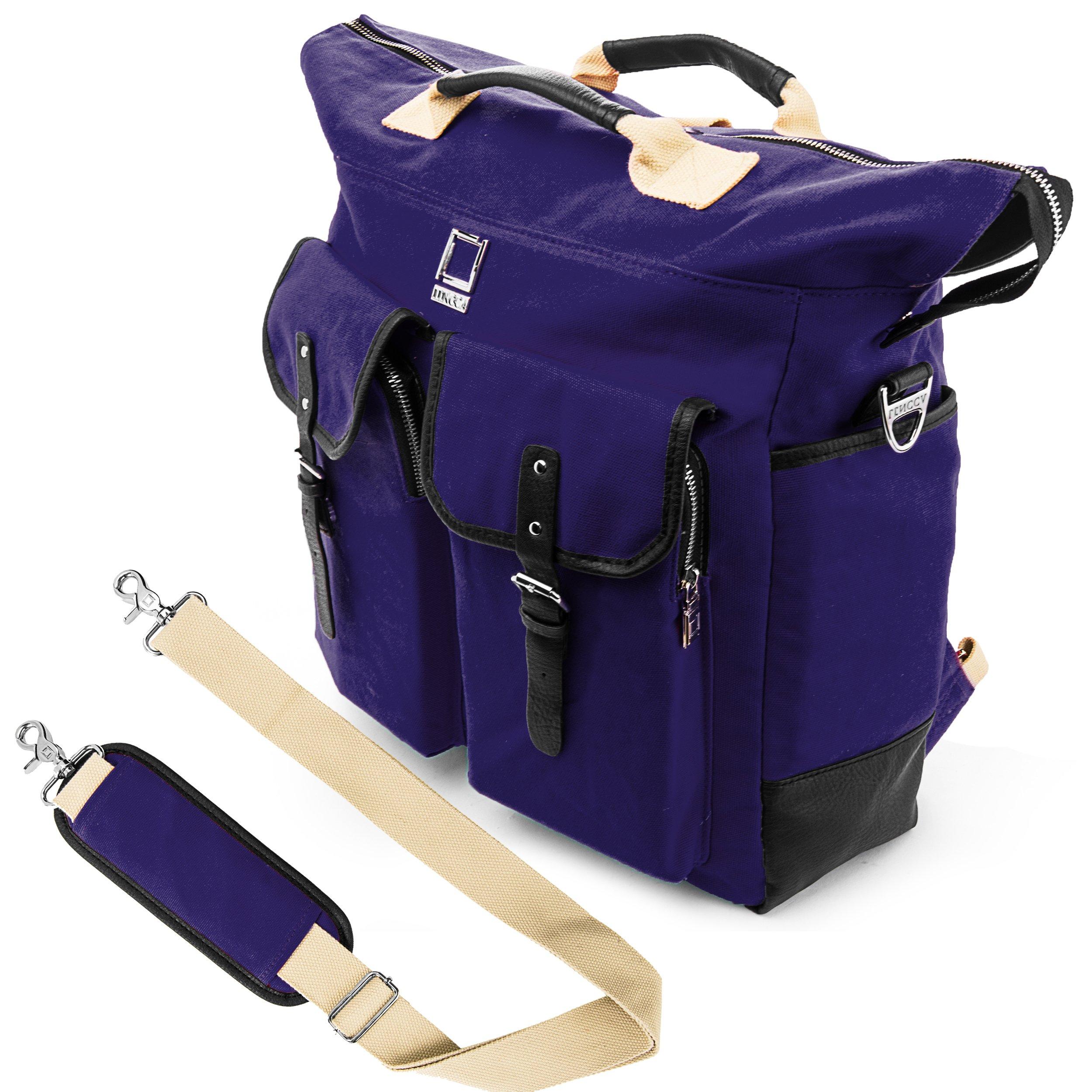 Lencca Universal Hybrid 3 in 1Design Carrying / Tote / Messenger / Crossbody / Backpack / Shoulder Bag for Apple Macbook Pro series 15.4 / 13.3 inch Mac OS X Laptop (Royal Blue)