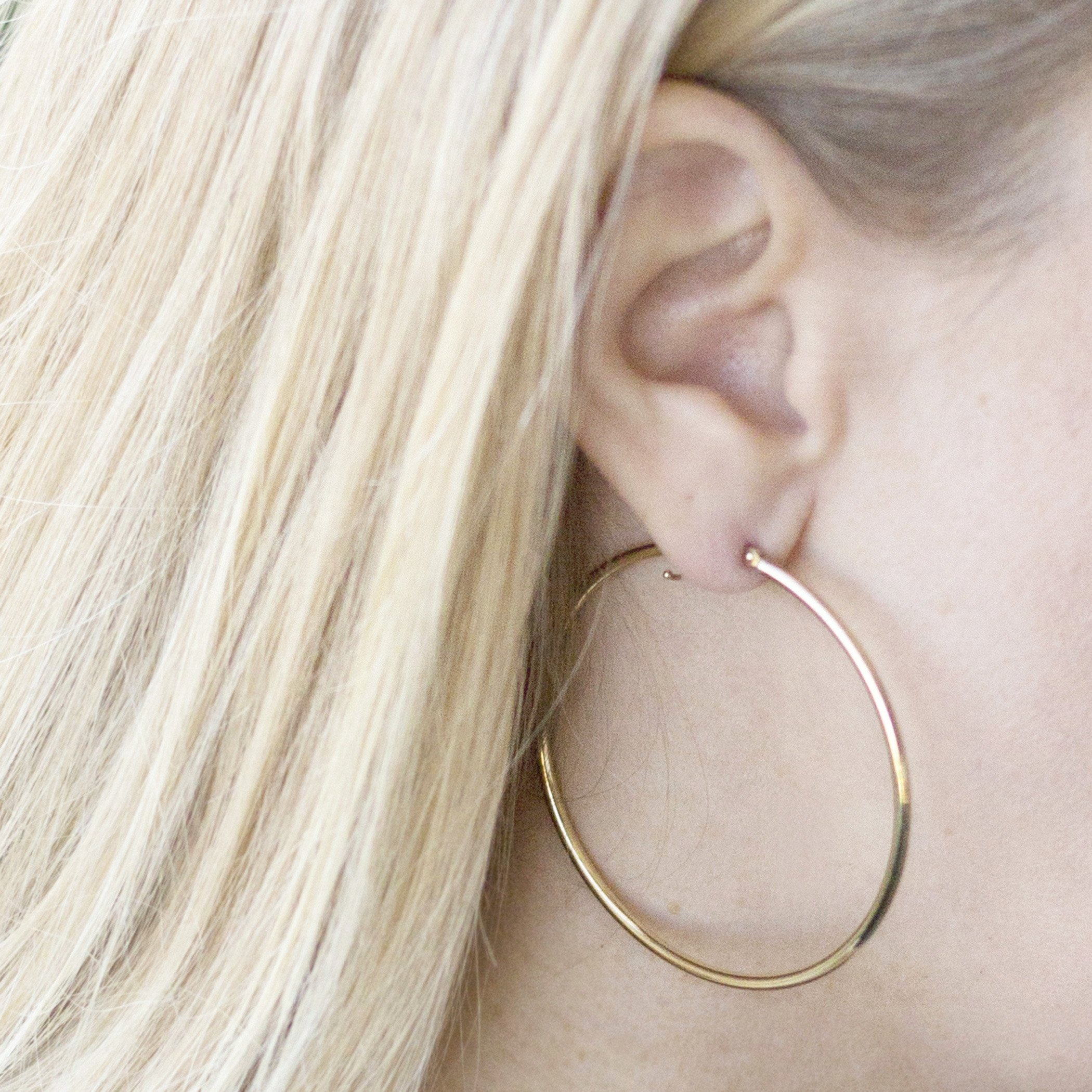 14K Yellow Gold 2 inch Hoop Earrings with Click Top Backing by Temecula Gold and Jewelry (Image #4)