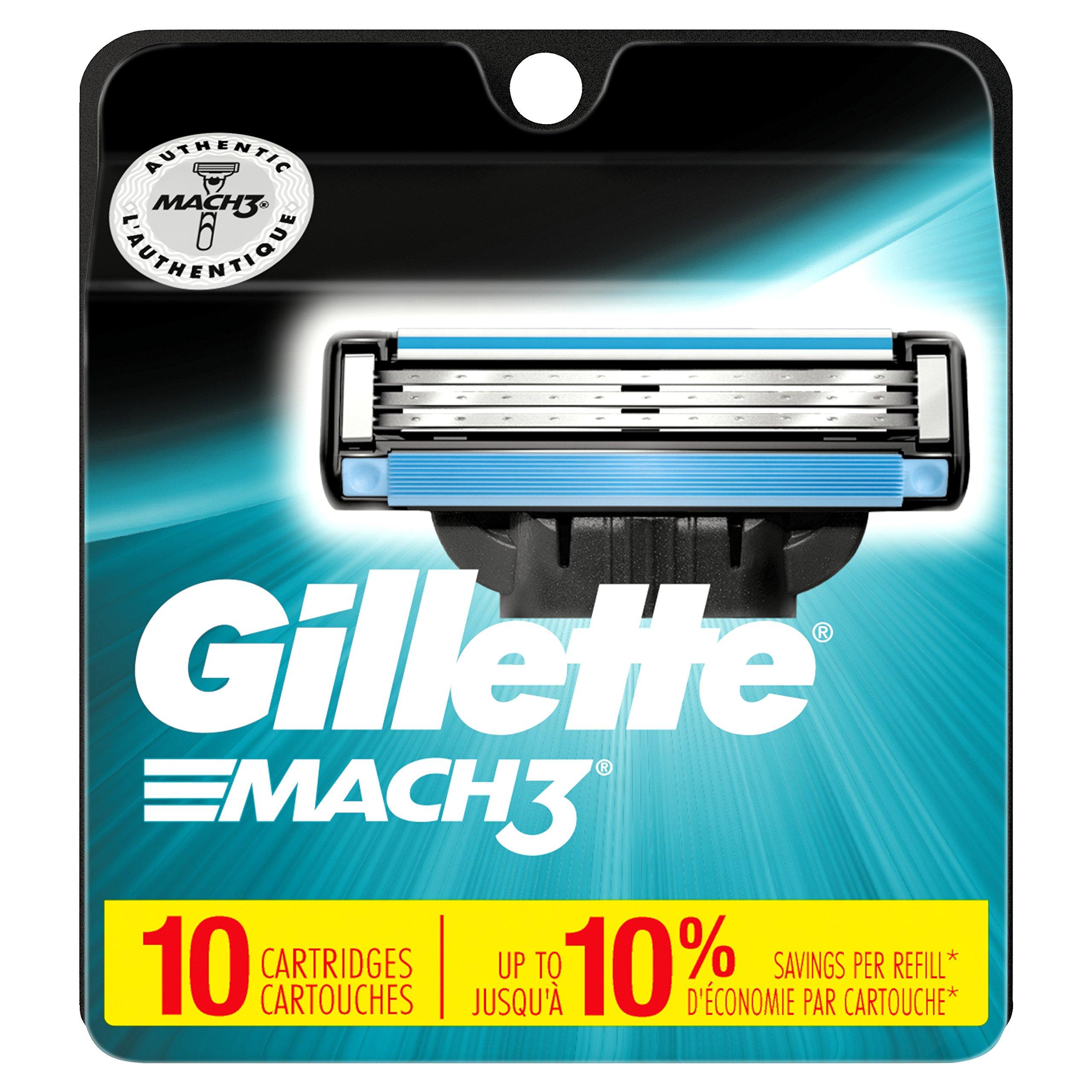 Gillette Mach3 Men's Razor Blades, 10 Blade Refills by Gillette