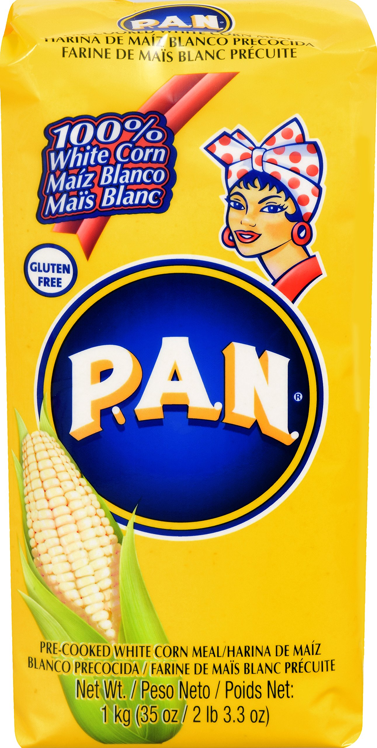 P.A.N. White Corn Meal – Pre-cooked Gluten Free and Kosher Flour for Arepas, 1 Kilogram (35 Ounces / 2 Pounds 3.3 Ounces) (Pack of 10)