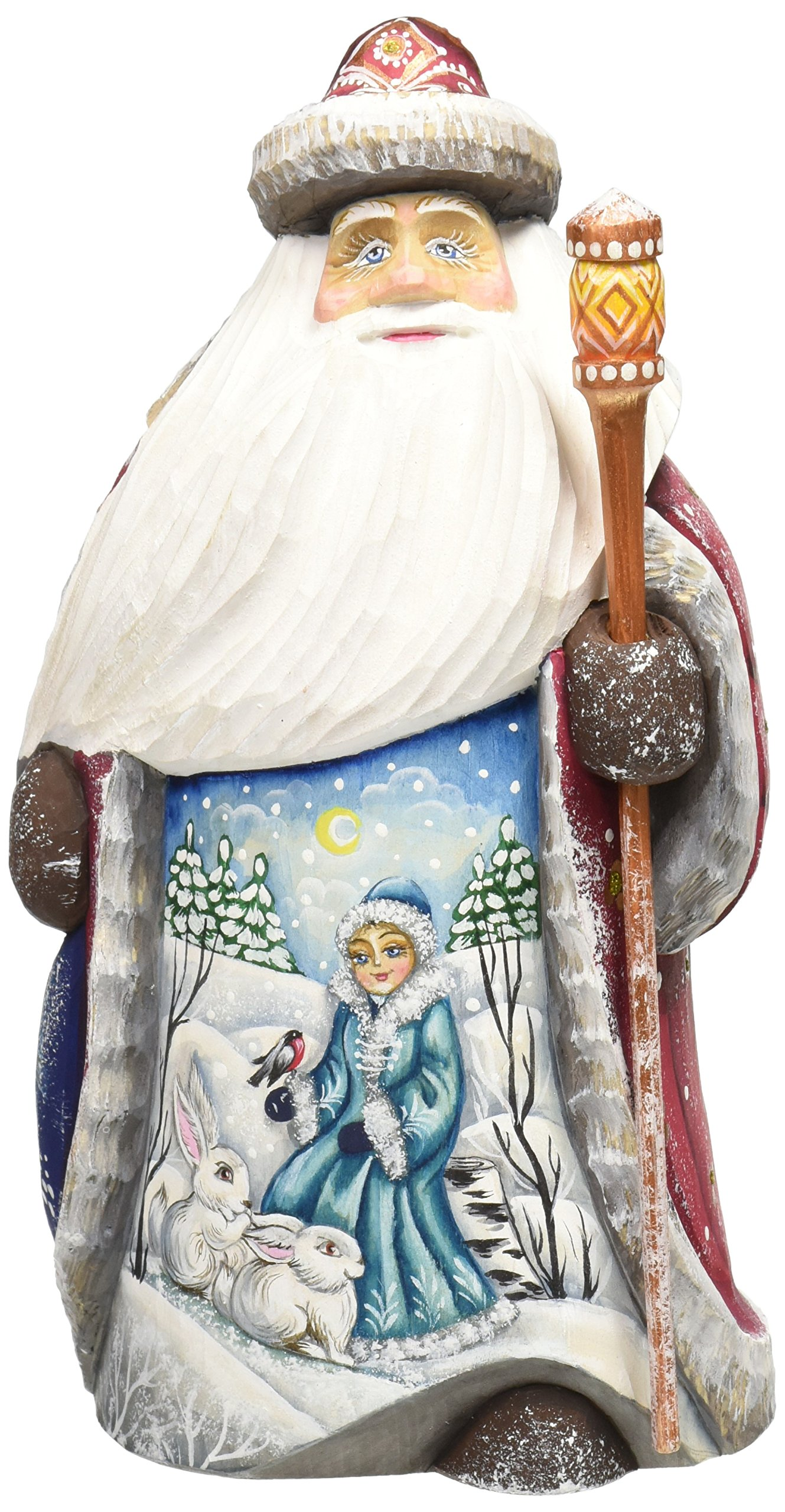 G. Debrekht Snow Mainden with Bunny Santa Hand-Painted Wood Carving