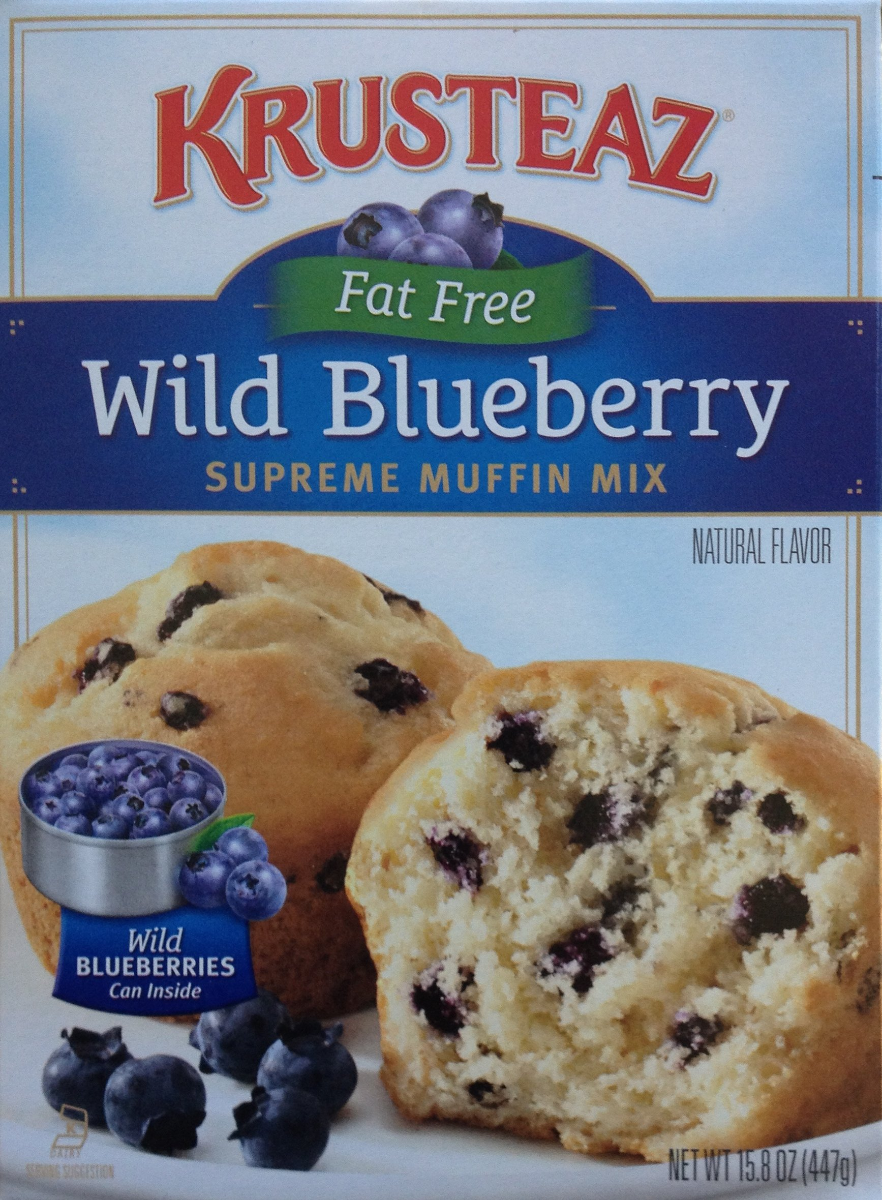 Krusteaz, Fat Free, Wild Blueberry Muffin Mix, 15.8oz Box (Pack of 6)