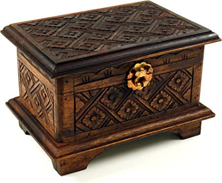 Guru-Shop Caja de Madera Tallada, Cofre del Tesoro, 14x21x15 cm ...