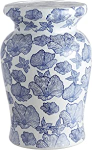 "Jonathan Y TBL1018A Poppies 17.7"" Ceramic Garden Stool, White/Blue"