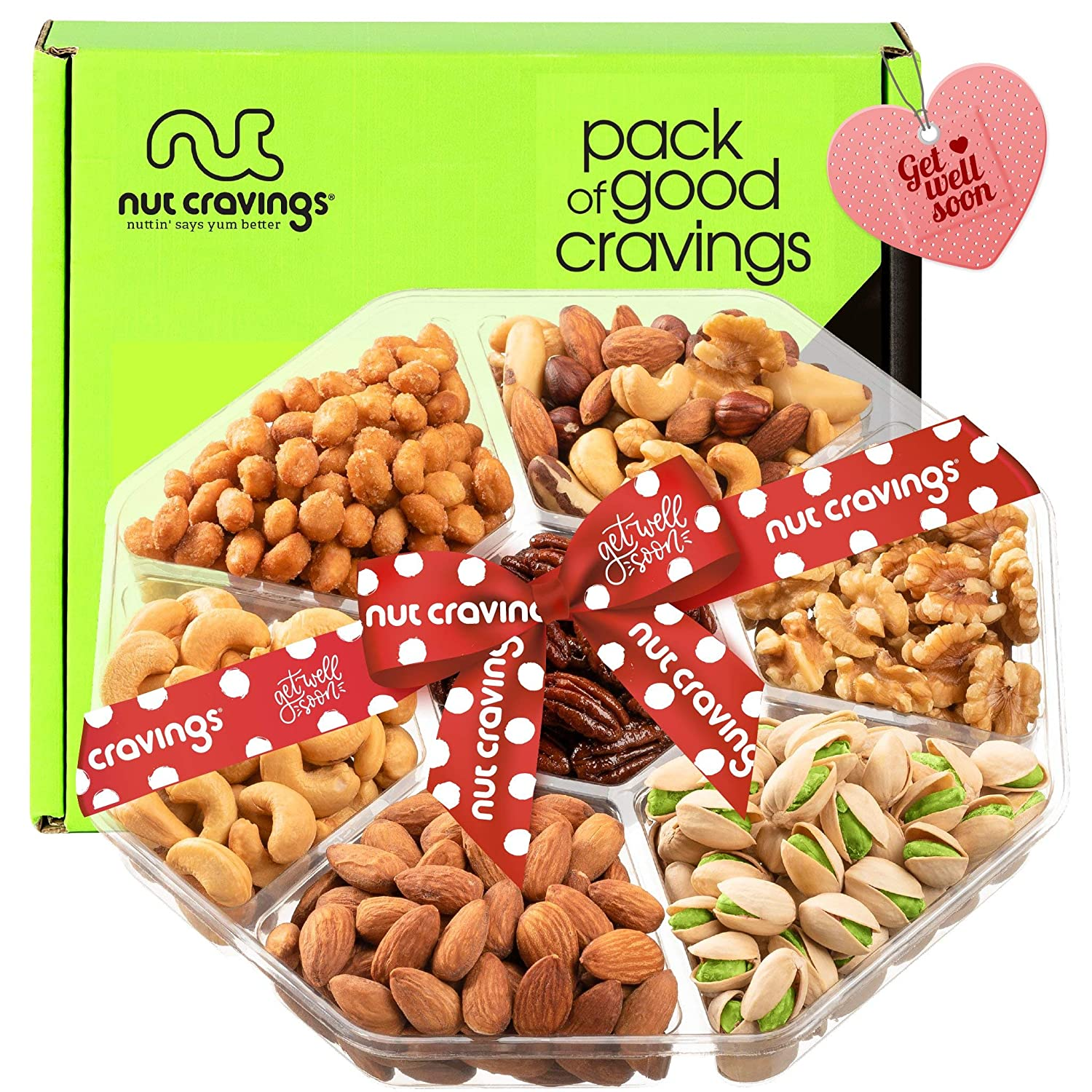 Get Well Soon Nut Gift Basket, (7 Mix Tray) - Valentine Food Arrangement Platter, Care Package Variety, Prime Birthday Assortment, Healthy Kosher Snack Box for Families, Women, Men, Adults