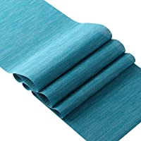 OSVINO Stylish Rectangular Multi-Color Bamboo Braided Stain Resistant Hotel Home Kitcken Dining Table Runner Mat, Blue…