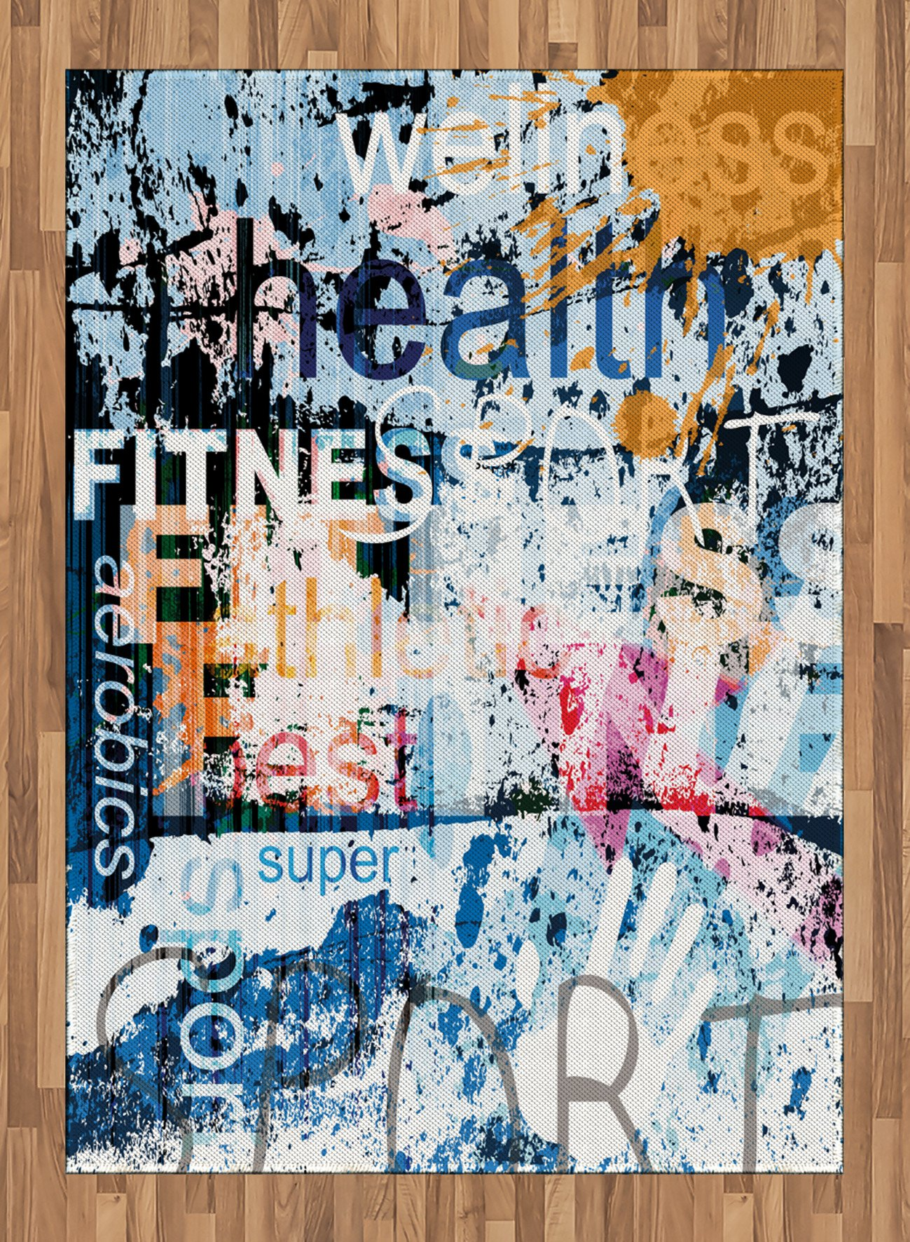 Fitness Area Rug by Ambesonne, Health Wellness Aerobics Sports Words Collection on Grunge Vintage Style Backdrop, Flat Woven Accent Rug for Living Room Bedroom Dining Room, 5.2 x 7.5 FT, Multicolor