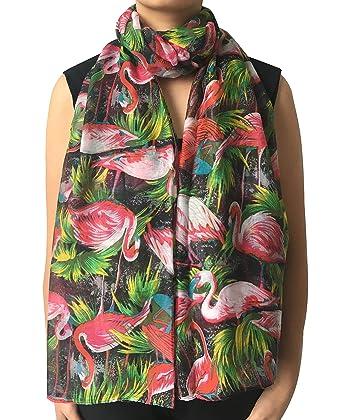 44ba33ebb2c7e Lina & Lily Vintage Flamingo Print Women's Scarf Oversized (Black ...