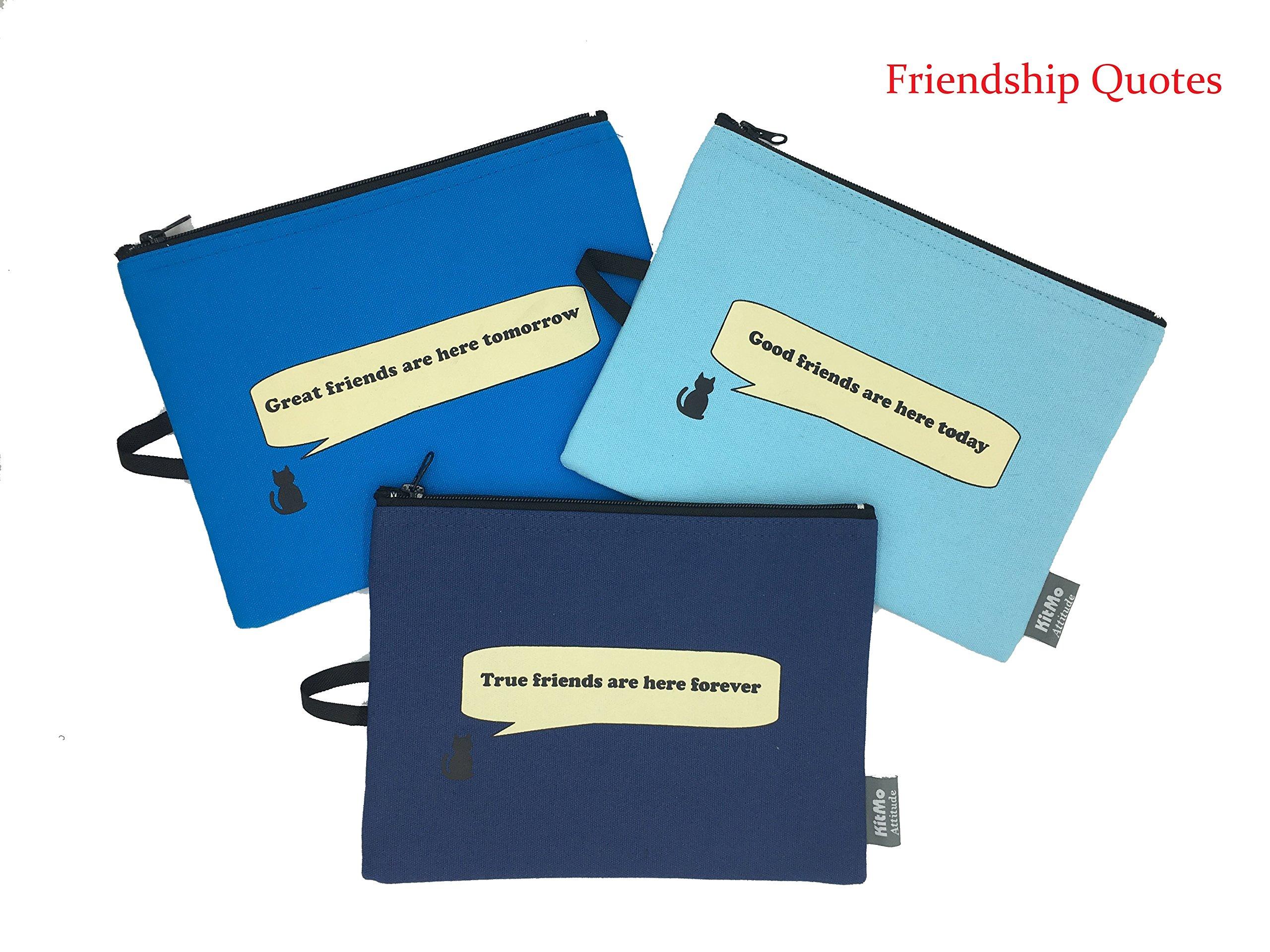 KitMo - Unique Design - 100% Cotton Travel Pouch/Makeup/ Pencil Case/Medicine Bag/Multi-Purpose Organizer - for School/Airplane/ Personal Items Storage - Gift (Set of 3 pcs) (Blue)
