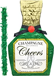 "Champagne Bottle Pinata with stick – 17"" X 10.5"" X 4.5"" Perfect for 21st Birthday decorations, Graduation, New Years and Wedd"