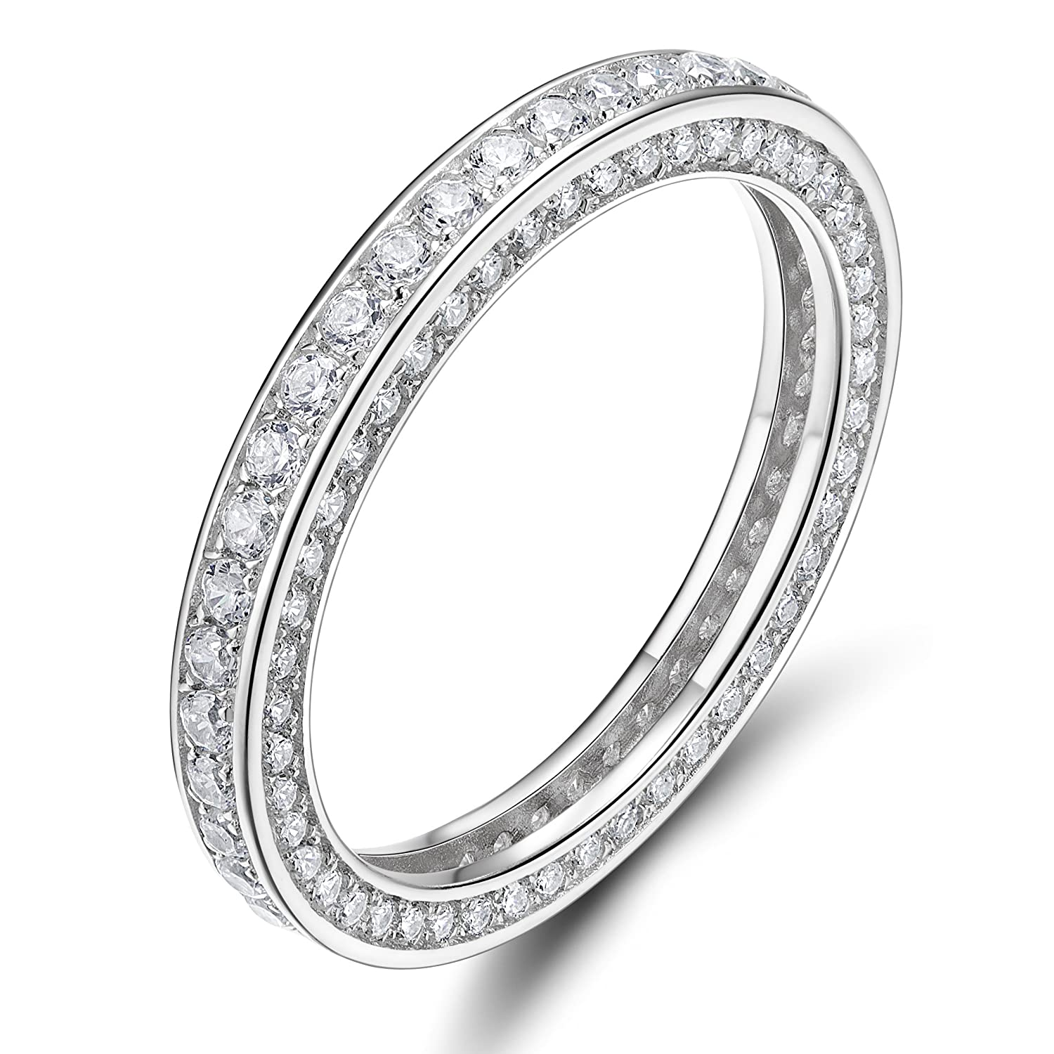 3MM 925 Sterling Silver Rings Cubic Zirconia Eternity Engagement Wedding Band Size 4-10 EAMTI