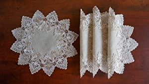 "GRANDDECO Lace Table Doily Placemat, for Home Kitchen Dining Room Coffee Wedding Dresser Scarf Tabletop Decoration,Placemat 16"" Set of 4, Beige"