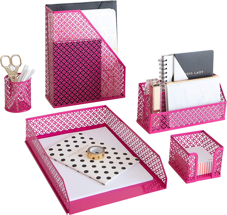 Blu Monaco Pink Office Supplies Hot Pink Desk Accessories for Women Office - 5 Piece Cute Pink Desk Organizer Set