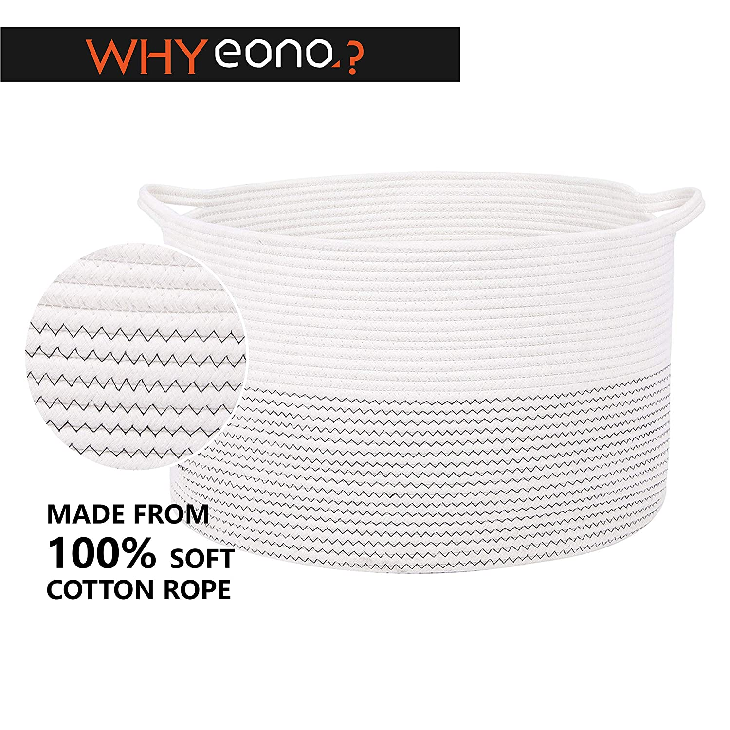 White, L Eono  Brand Large Storage Baskets -17 Inches x 14.6 Inches - Cotton Rope Basket Woven Baby Laundry Basket with Handle for Diaper Toy Cute Neutral Home Decor H D