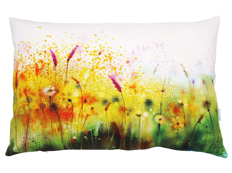 Blumenwiese Kissen Aquarell in bunt aus Baumwolle pink gelb gr/ün Kissenbezug Kissenh/ülle in 40x60 cm Blumenkissen Aquarellmotiv