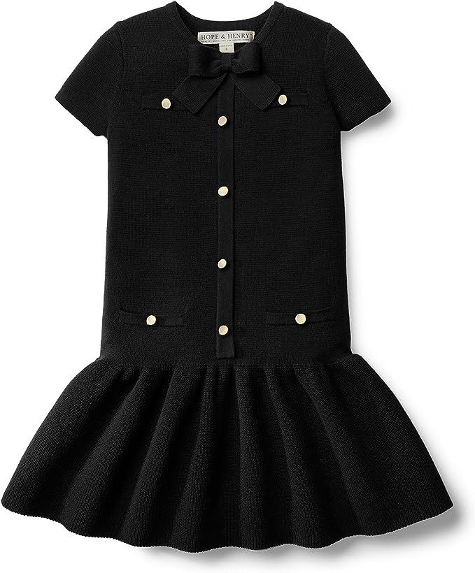60s 70s Kids Costumes & Clothing Girls & Boys Hope & Henry Girls Short Sleeve Milano Drop Waist Sweater Dress $26.95 AT vintagedancer.com