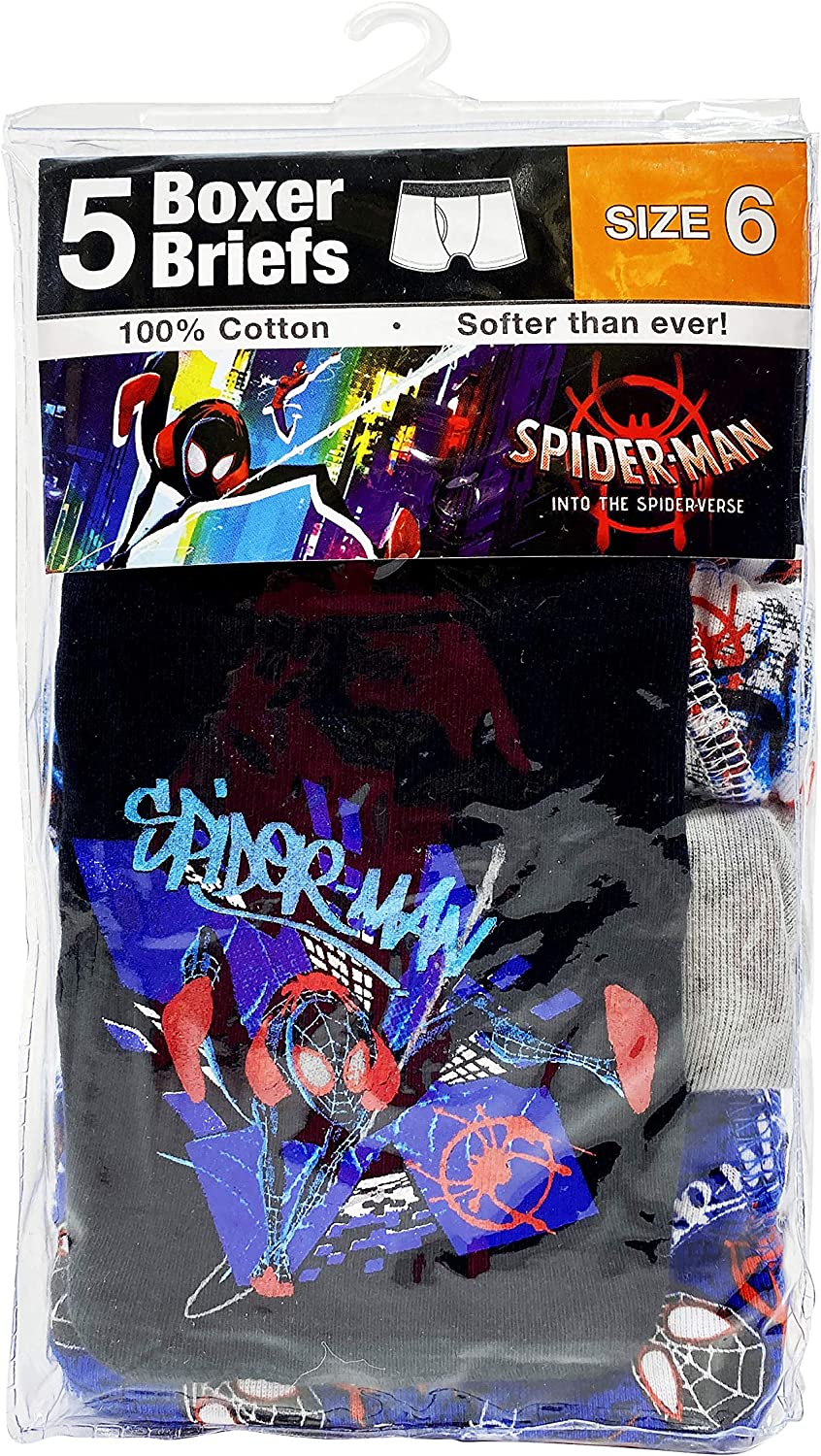 Spiderman Boys Spiderverse Boxer Brief 5-Pack, Print May Vary: Clothing