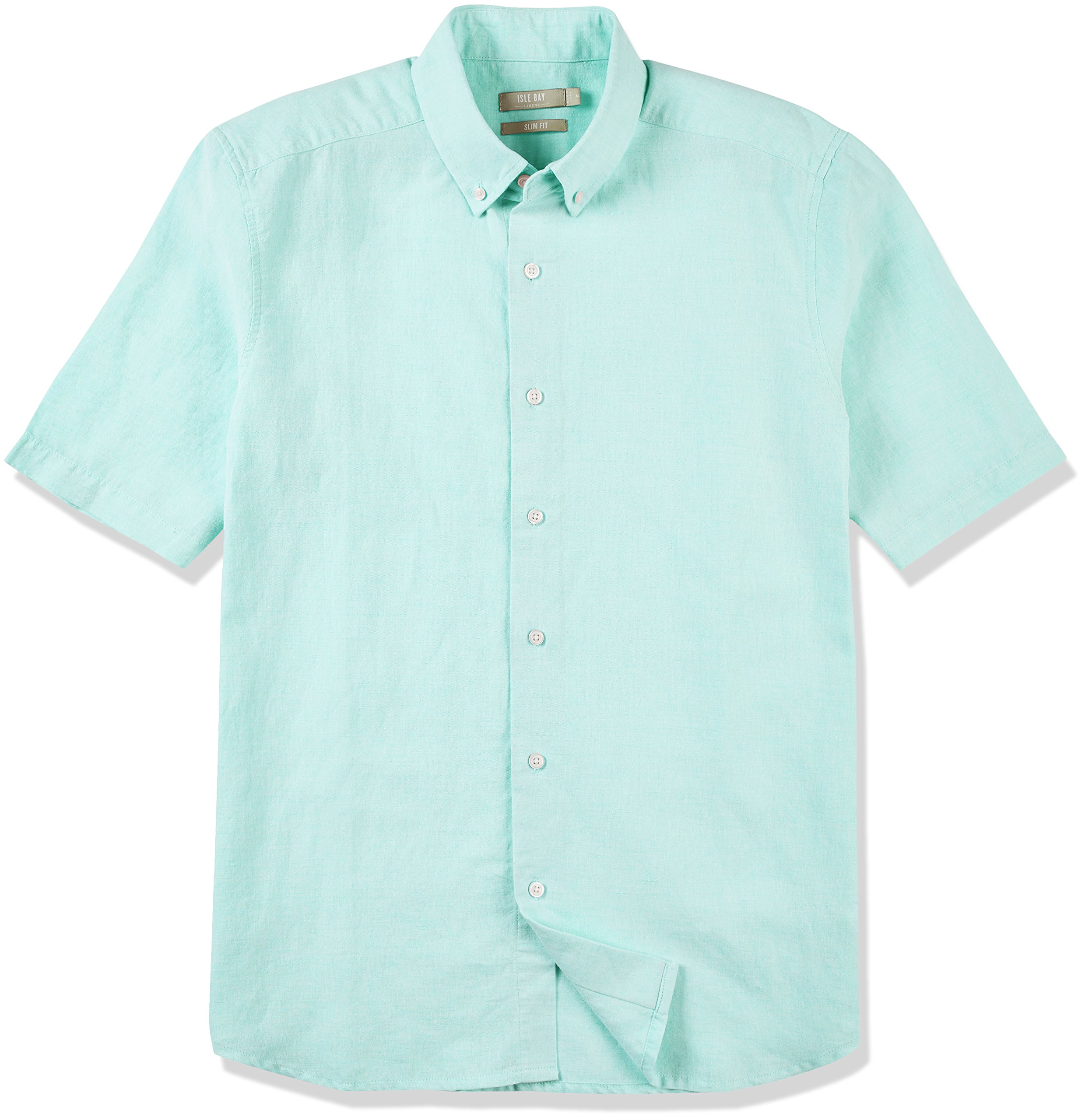 Isle Bay Linens Men's Slim Fit Short Sleeve Button-Down Collar Casual Woven Shirt Chambray Apple Green Large by Isle Bay Linens