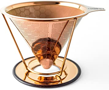 HIBOU – Filtro de café con revestimiento de cobre, reutilizable y ...