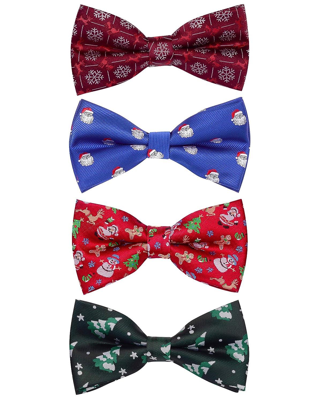 GUSLESON 4PCS Mens Christmas Bow tie Festival Theme Bowties Pre-Tied Neckwear Snow Tree Pattern