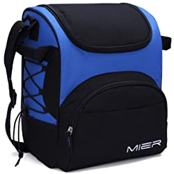 MIER Large Insulated Lunch Bag Reusable Lunch Box Picnic Cooler Bag for Men Women Kids Adjustable Shoulder Strap (Blue)