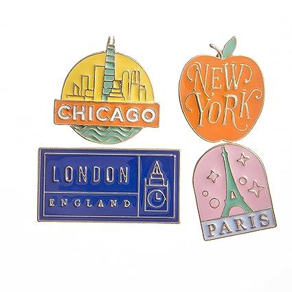 Amazon com: Happy Jackets 30020596 Enamel Pins Vintage Place Signs 4Pc