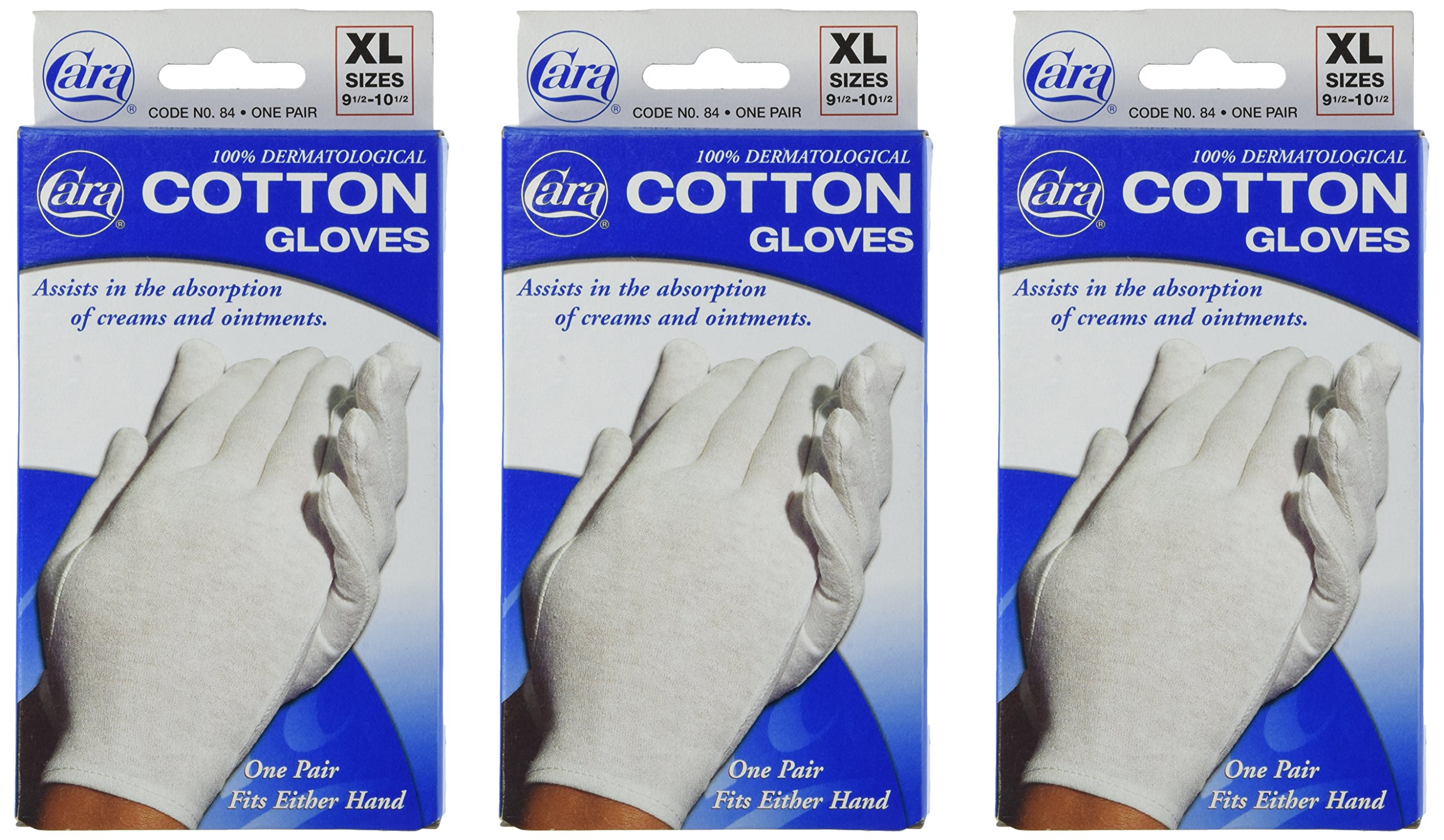 Cara Cotton Gloves - XL (Pack of 3 )