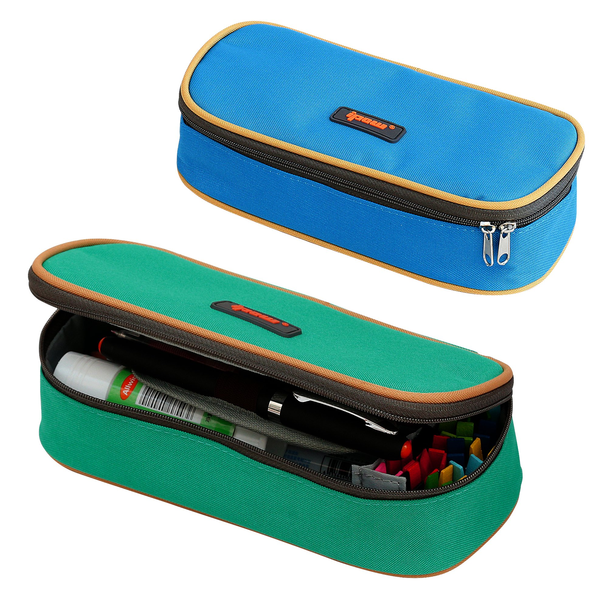 2 Pack(Blue+Green Colors) Pencil Case,IPOW Homecube Big Capacity Pen Bag Makeup Pouch Durable Students Stationery With Double Zipper