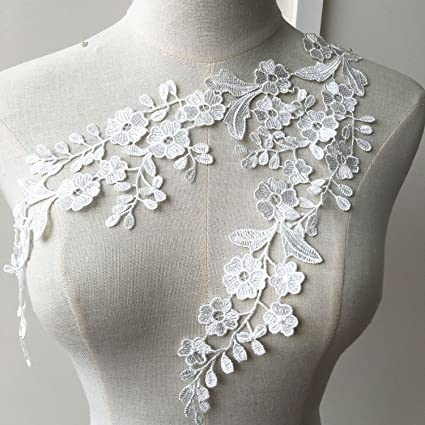 Bodice Applique for Formal Wear PD2308-2-430 Beaded Sequins Wedding Embroidered Patch White Lace Applique