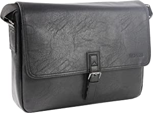 "Kenneth Cole Reaction Modern Dilemma Pebbled Faux Leather Laptop & Tablet Business Case Travel Bag, 15"" Laptop Messenger"