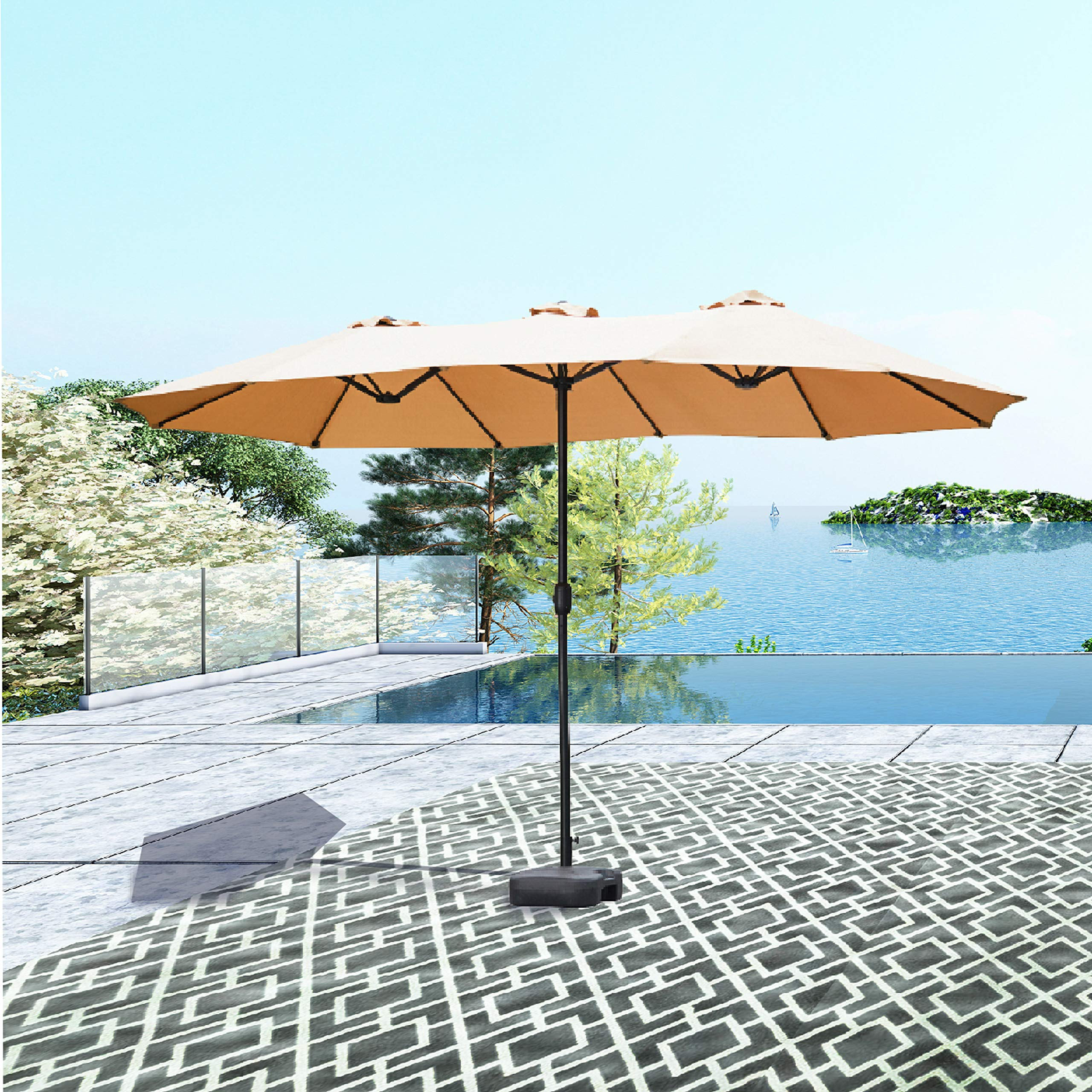 Patio Festival ® Double-Sided Outdoor Umbrella,15x9 ft Aluminum Garden Large Umbrella with Tilt and Crank for Market,Camping,Swimming Pool (Middle, Khaki) by Patio Festival ®