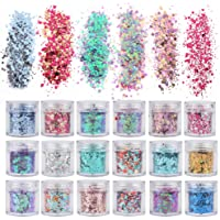 18 Boxes Holographic Cosmetic Festival Chunky Glitters Sequins, Nail Sequins Iridescent Flakes, Cosmetic Paillette Ultra…