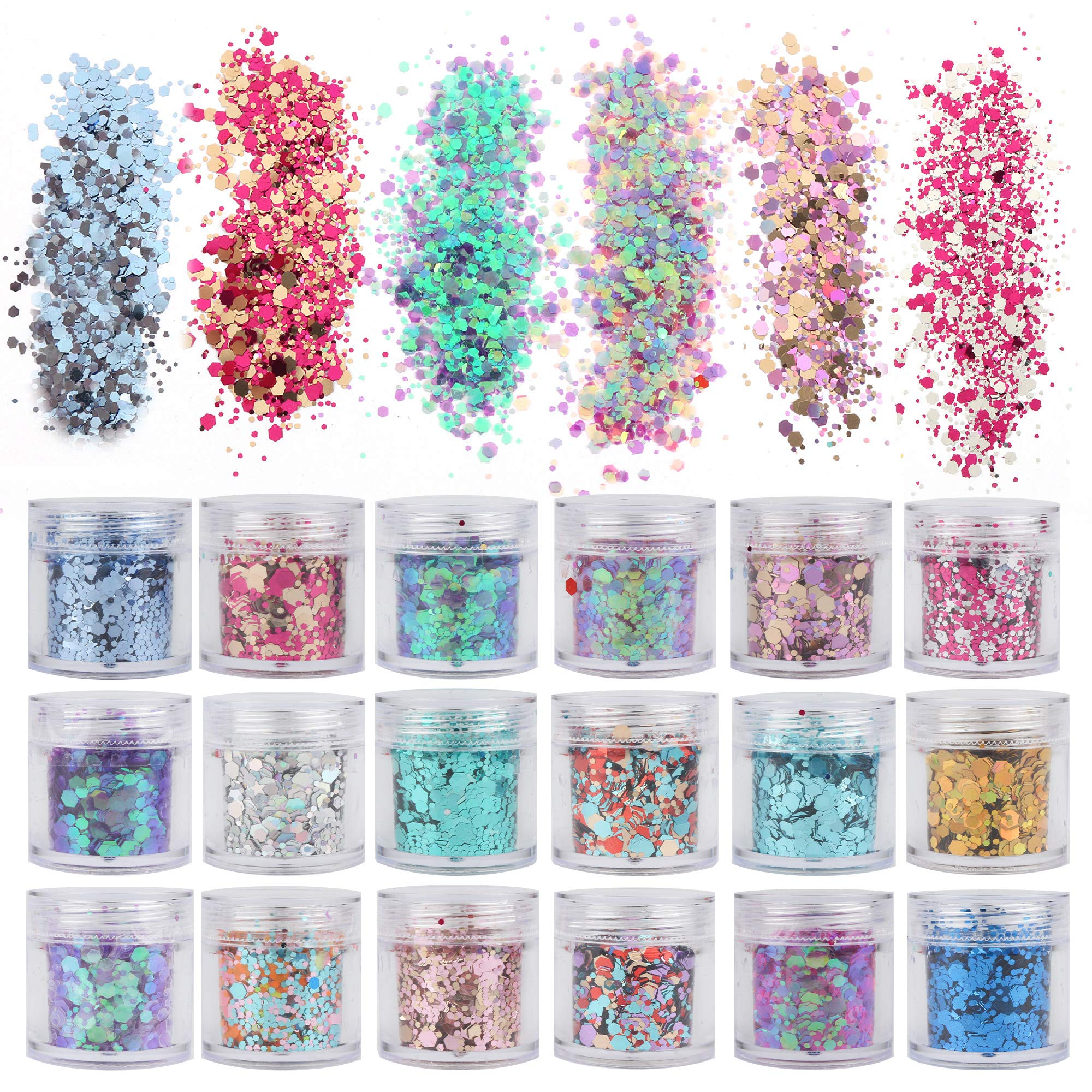 18 Boxes Holographic Cosmetic Festival Chunky Glitters Sequins, Nail Sequins Iridescent Flakes, Cosmetic Paillette Ultra-thin Tips, for Body Face Hair Make Up Nail Art Mixed Color Glitter by Kiikooll