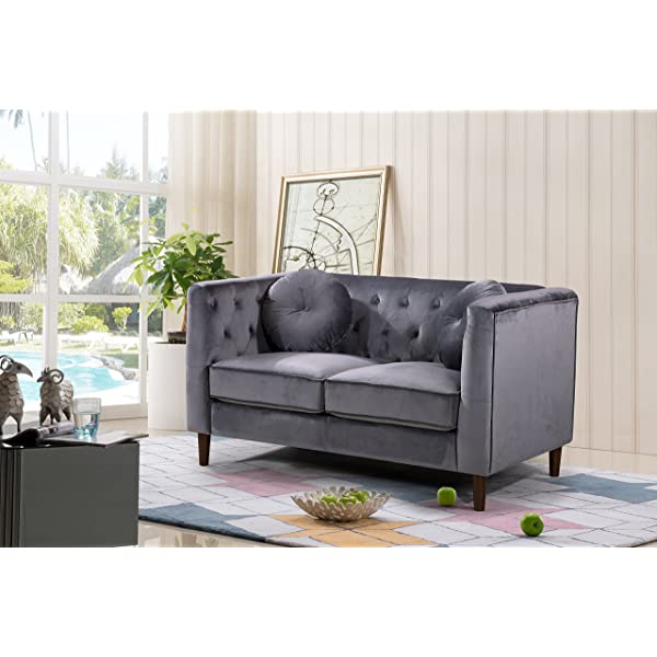Container Furniture Direct S5374-L Kitts Velvet Upholstered Modern Chesterfield Loveseat, Gray