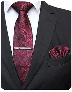 J.PLOENES Hochzeitskrawatte mit Einstecktuch mit Paisley aus 100/% Seide verschiedene Hochzeitsfarben