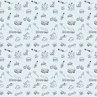 product image for WallCandy Arts Removable Wallpaper, Doodle Blue/Black