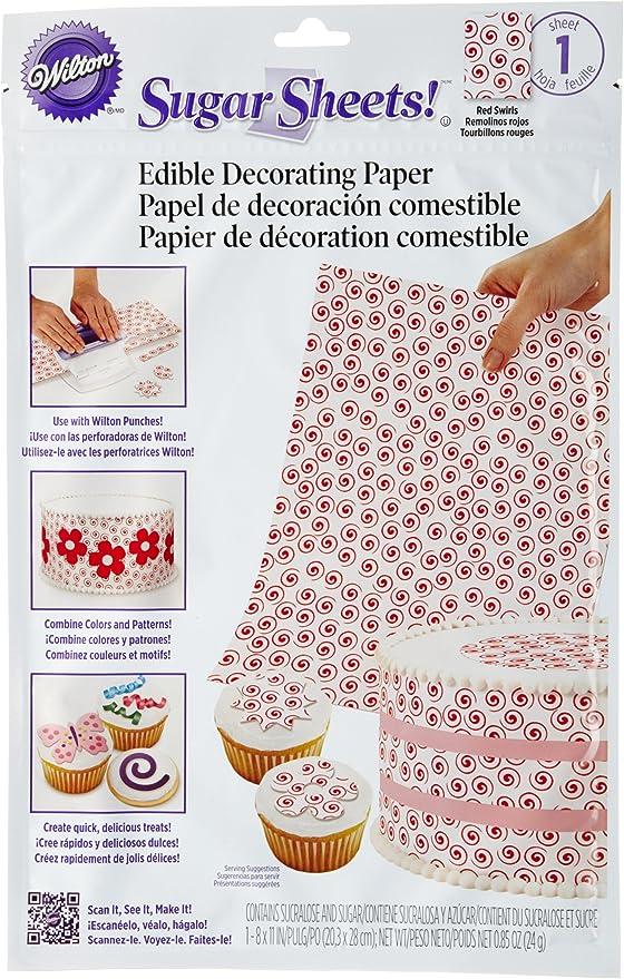 Wilton Sugar Sheet Red Swirl Design For Cake /& Cupcakes Decorating New