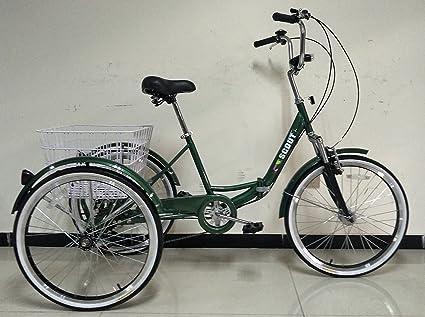 Triciclo para adultos con cuadro plegable, ruedas de 60,96 cm, cambio Shimano