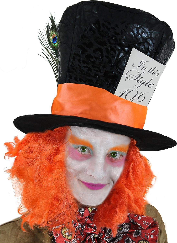 ILOVEFANCYDRESS Sombrero DE Sombrerero Loco Accesorio DE Disfraz para Adulto Sombrero con Peluca Naranja Carnaval