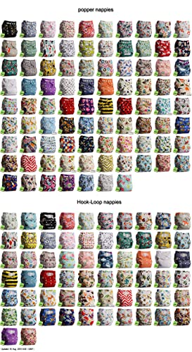 Littles & Bloomz, Reusable Pocket Cloth Nappy, Fastener: Popper and Hook-Loop, Various Patterns, Dispatch Randomly