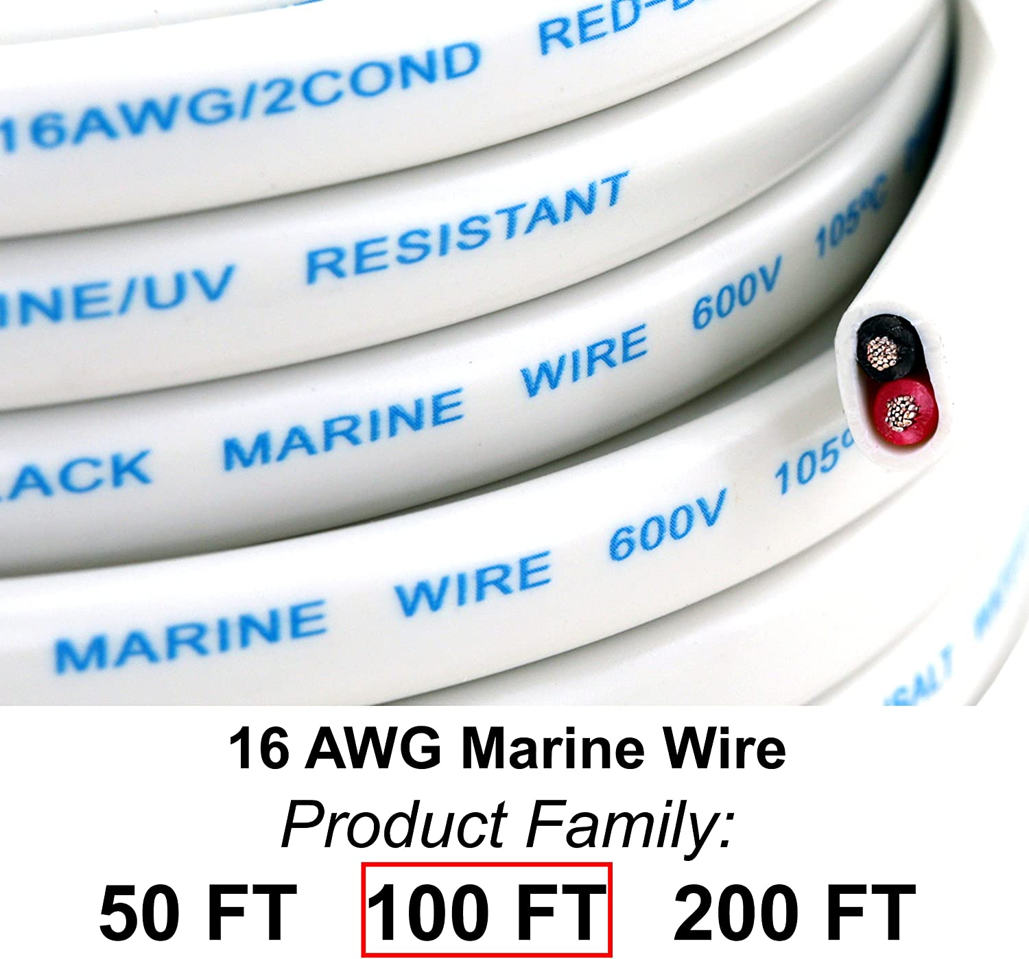 GS Power's 16 Ga (True American Wire Gauge) AWG Tinned Oxygen Free Copper OFC Duplex 16/2 Dual Conductor AC Marine Boat Battery Wire. Cable Length: 100 FT (50 or 200' Options Available): Automotive