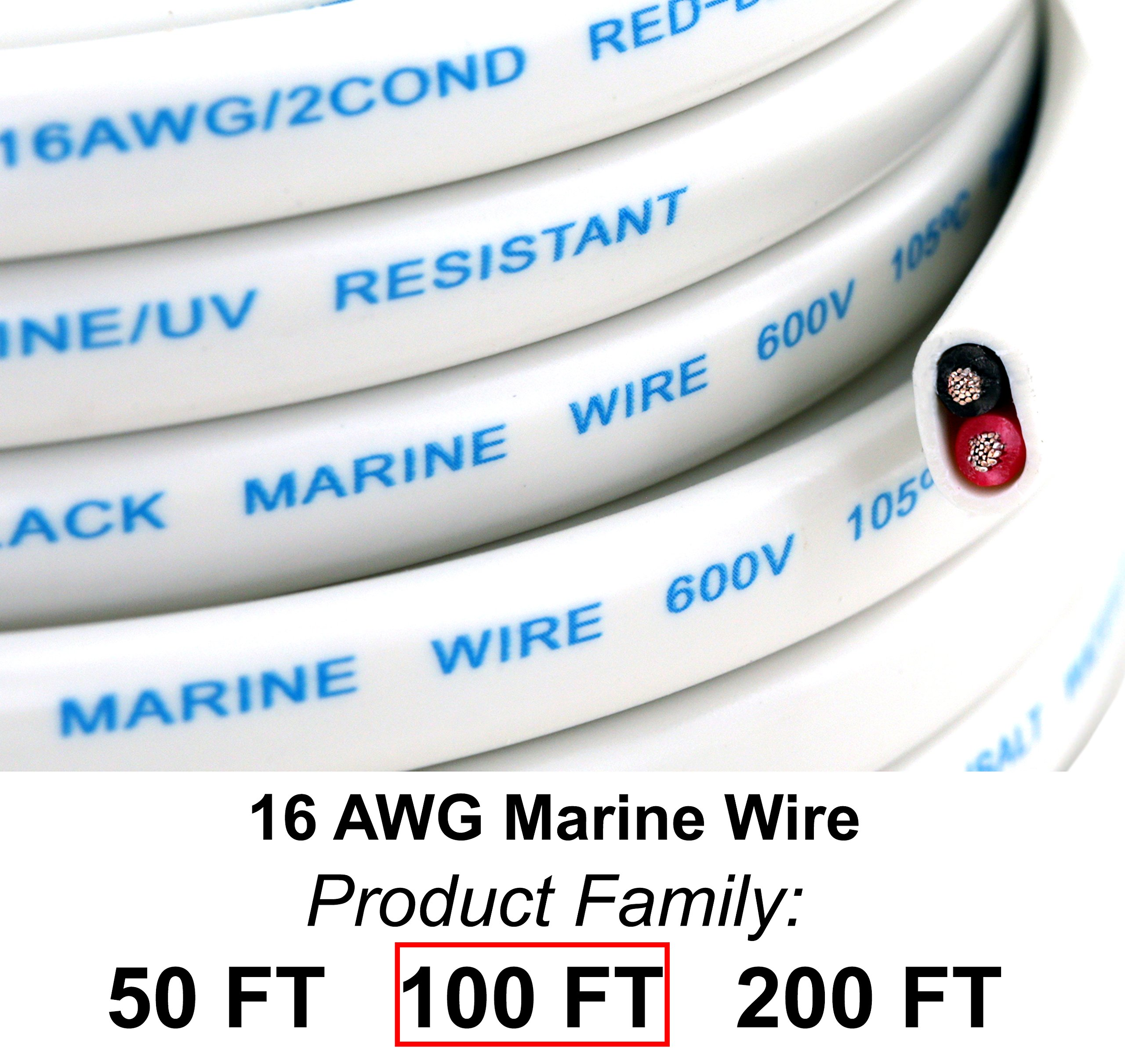 GS Power's 16 Ga (True American Wire Gauge) AWG Tinned Oxygen Free Copper OFC Duplex 16/2 Dual Conductor AC Marine Boat Battery Wire. Cable Length: 100 FT (50 Or 200' Options Available) by GS Power